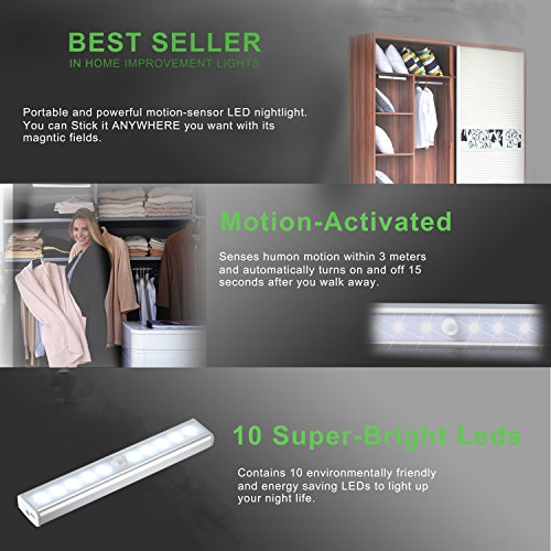 -[ JESWELL Motion Sensor Cabinet Light Rechargeable - 10 LED Wireless PIR Motion Activated Wardrobe