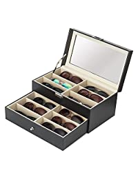 MyGift Deluxe Black 12 Compartment Eyewear & Sunglasses Display Case w/Glass Lid, 1 Drawer & Leatherette Trim