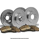 (Front+Rear Kit)4 OE SPEC Cross Drilled Brake Rotors & 8 Ceramic Pads(5lug)