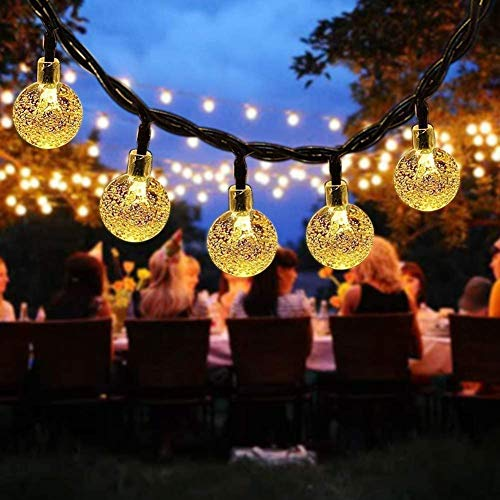 Solar String Lights, 60 LED Outdoor Garden Solar Lights Crystal Ball Decorative Lights 36Ft Waterproof Indoor Outdoor Fairy Lights for Garden, Patio, Yard, Christmas [Warm White]