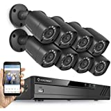 Amcrest HD 1080P-Lite / 720P 8CH Video Security System w/ Eight 1.0 Megapixel IP67 Outdoor Bullet Cameras, 65ft Night Vision, 1TB HDD, (AMDV7218-8B-B