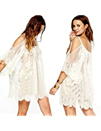 Tenworld Vintage Hippie Boho Floral Lace Crochet Mini Dress Beach Cover Up Dress