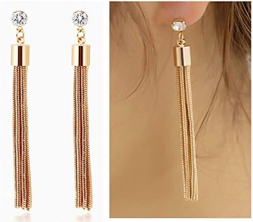 Beautiful Paradise Luxury Temperament Tassel Earrings Gold Plated Long Earings with Crystal