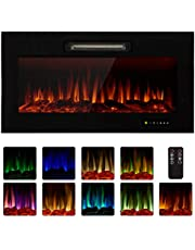 """Homedex 36"""" Recessed Mounted Electric Fireplace Insert with Touch Screen Control Panel, Remote Control, 750/1500W, Log/Crystal Options"""