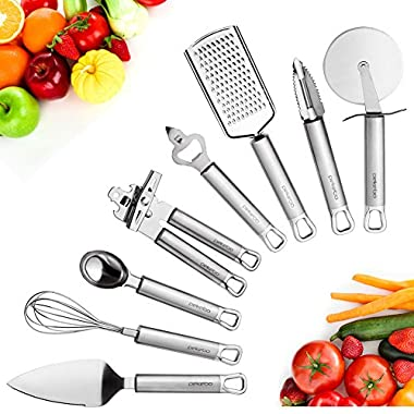 8 Piece High Grade Stainless Steel Kitchen Gadgets Tools Set Unique Thick Strength Most Useful Portable Chef Household Cooking Utensils