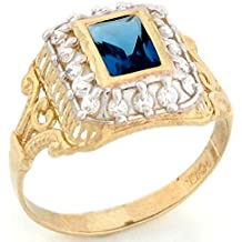 10k Gold Synthetic Stone Birthstone CZ Ring