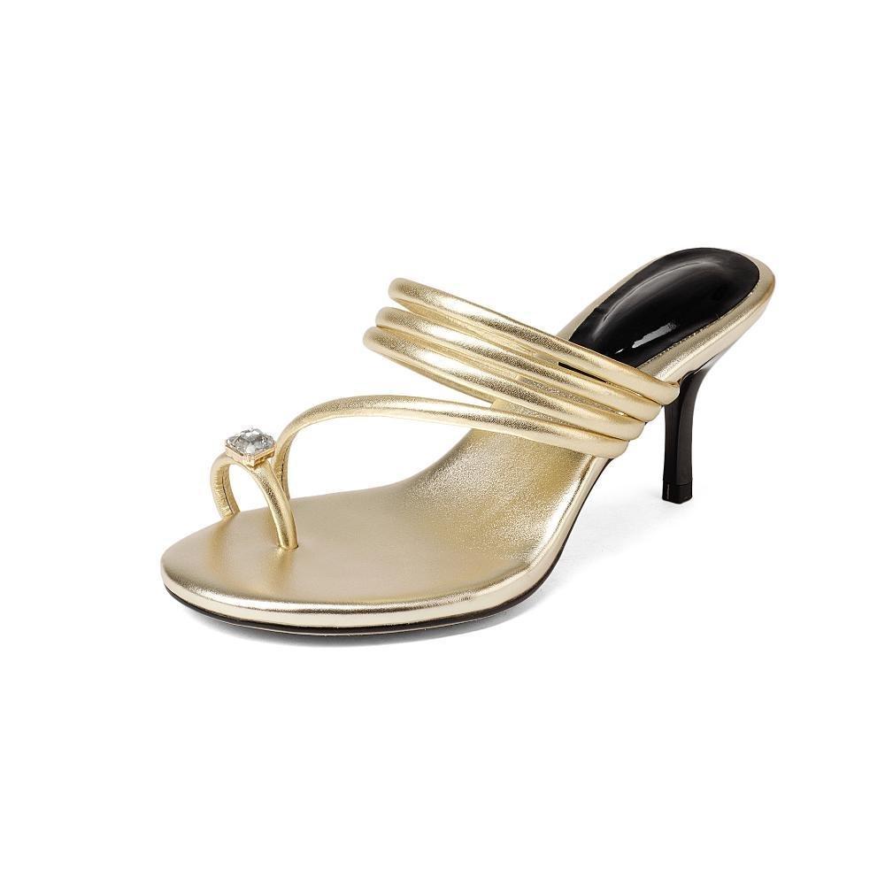 ZHRUI Zapatos de Tacón A6008 Mujer Simple PU Sandalias Zapatillas Todos los Días Casual Altura del Tacón 6.5cm Golden, Silver EU39/UK6/CN39|Silver