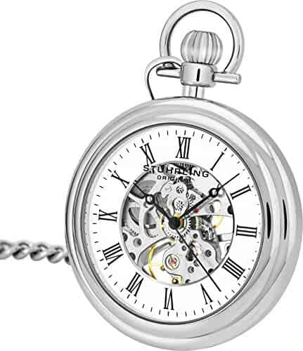 Stuhrling Original Mens Vintage Mechanical Pocket Watch - Stainless Steel Analog Skeleton Hand Wind Mechanical Watch with Belt Clip Stainless Steel Chain 6053.33113