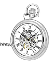 Stuhrling Original Mens Vintage Mechanical Pocket Watch - Stainless Steel Analog Skeleton Hand Wind Mechanical Watch with Belt Clip Stainless Steel Chain 6053.33113