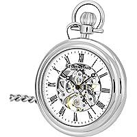 Stuhrling Original Men's 'Special Reserve' Mechanical Hand Wind Brass Pocket Watch, Color:White (Model: 6053.33113)