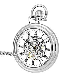 Stuhrling 6053.33113 reloj de bolsillo de acero inoxidable Esqueleto movimiento mecánico de la vendimia de los hombres