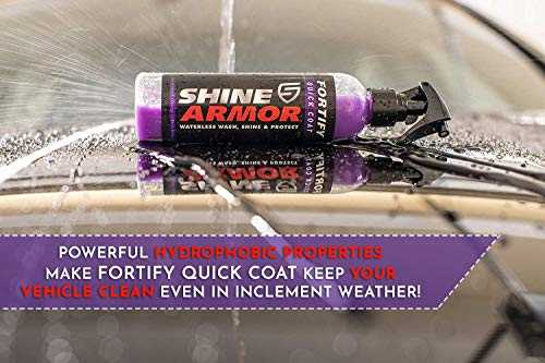 SHINE ARMOR Fortify Quick Coat - Ceramic Coating - Car Wax Polish Spray - Waterless Car Wash & Wax - Hydrophobic Top Coat Polish & Polymer Paint Sealant Detail Protection