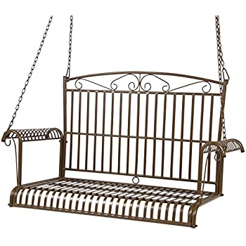 metal porch swing cushions swings with stands frame best choice products iron patio hanging chair bench seat outdoor furniture