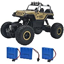 Blomiky Wesipi C182 4WD Gold Alloy Monster RC Truck Toys Off-Road Rock Crawler RC Vehicle Car With LED Light C182 Gold