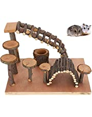 ELEpure Hamster Wooden Playground with Platform/Bridge/Feeder/Ladder, Pet Natural Hideout and Climbing Chewing Toys for Small Animals Sugar Glider Chinchilla Rat