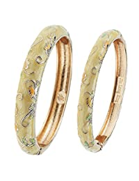 UJOY Indian Jewelry Cloisonne Bracelet Gold Plated Hinged Cuff Enamel Large Bangles for Women