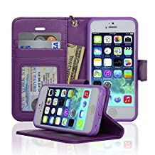 Navor Protective Flip Wallet Case for iPhone 5 & iPhone 5S - Purple (IP5OPP)