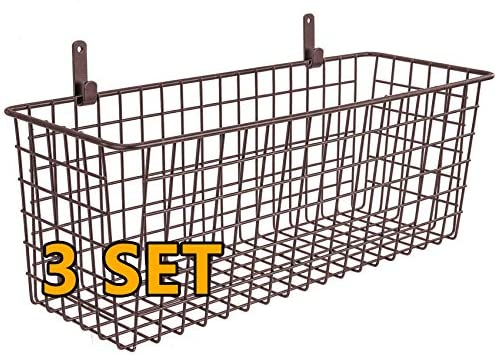3 Set [Extra Large] Hanging Wall Basket for Storage, Wall Mount Sturdy Steel Wire Baskets, Metal Hang Cabinet Bin for Organizing, Rustic Farmhouse Decor, Kitchen Pantry Bathroom Organizer, Brown