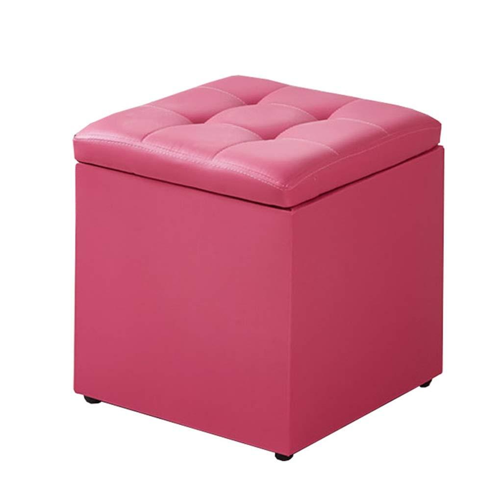 Promoción por tiempo limitado Reposapiés Sofá Taburete de Almacenamiento de Color Rosa Taburete de Taburete de PU Cuero de imitación de Cuero Ahorro de Espacio Práctico Reposapiés tapizado de salón Dormitorio Asie