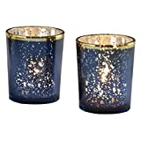 Kate Aspen 20191NA Mercury Glass Tea Light Holder (Set of 4), Navy/Gold