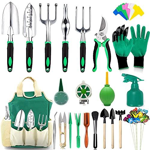 Set herramientas p/ jardinería + bolsa organizadora/verde