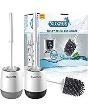 XUXRUS 2 Pack Silicone Toilet Brush and Holder Set, Bathroom Toilet Brush Holder,Silicone Toilet Cleaning Brush Kit with Soft Bristle Brush-White Blackwhite Grey