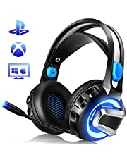 NiceWell Gaming Headset for Xbox One, PS4, PC, Gaming Headphones with Microphone, LED Light, Stereo Sound, Noise-canceling, Over-Ear Soft Earmuffs and Adjustable Heanband