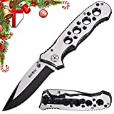 Grand Way Tactical Folding Knife - EDC and Outdoor Classic Pocket Knives Stainless Steel Blade with Metal Clip Handle - Best Strong Urban Tourist Fold Knife for Travel and Hiking 6683 CEZ