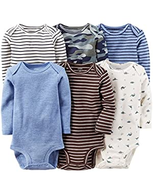 Carters 6-pk. Baby Boy Stripe, Dinosaur & Camo Bodysuits (NB)