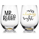 """""""Mr Right & Mrs Always Right"""" - 22oz Stemless Wine Glasses Set of 2, Gift for Wedding Married Couple, for Engagement Gifts"""