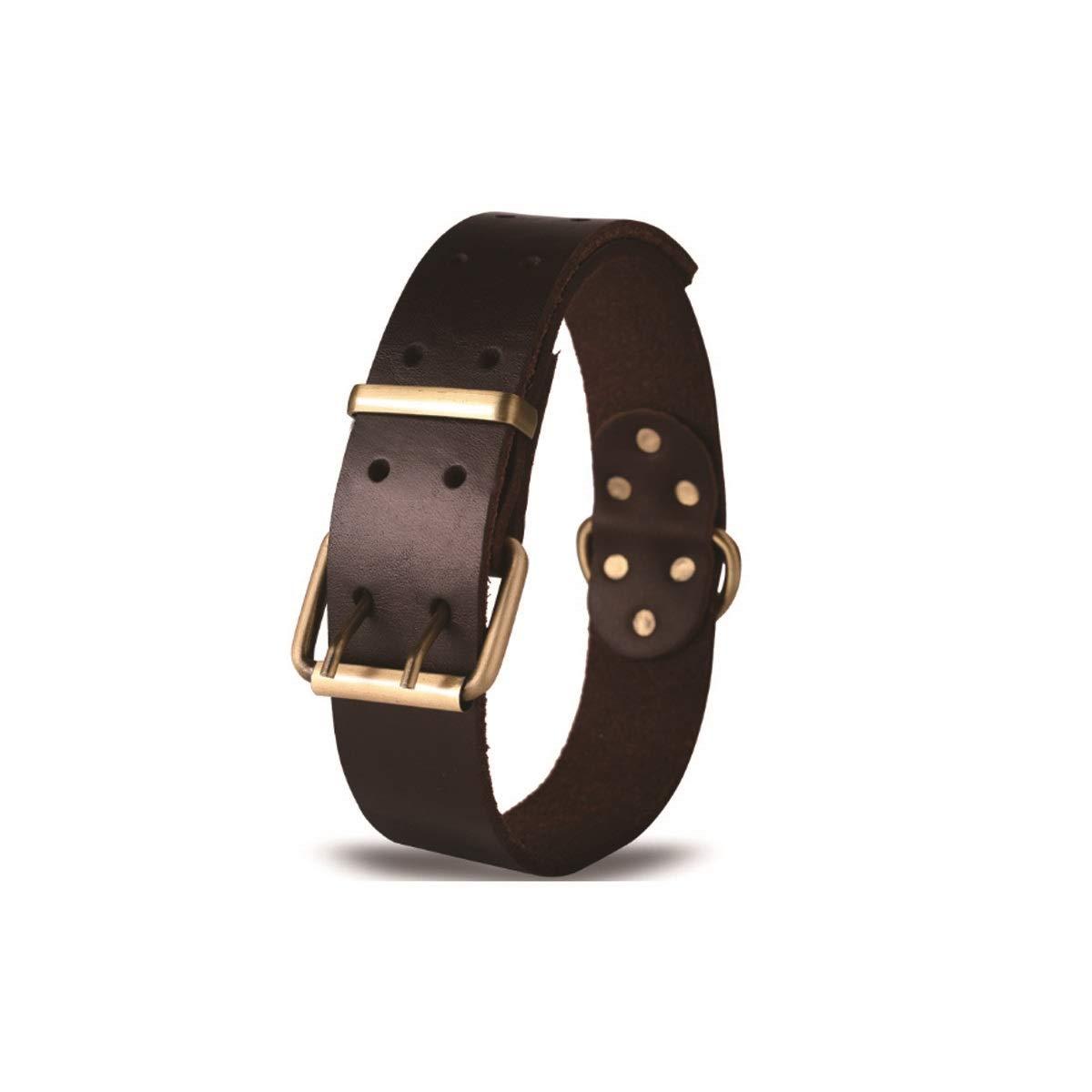 Dark brown L Dark brown L Tongboshi Leather Collar, Leather Dog Collar, Collar, Medium Large Dog Collar, Pet Supplies, Dark Brown, The Collar is Beautiful in Design and Unique in co (color   Dark Brown, Size   L)