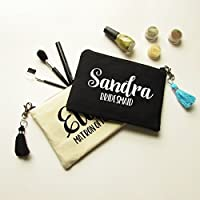 Personalized Makeup Bag with Tassel Gift for Bridesmaids - Canvas Pouch with Name & Bridal Party Title