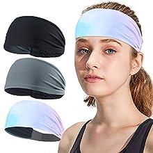 AXBXCX 3Pack - Men Women Headband Sweatband & Sports Headband Moisture Wicking Workout Sweatbands for Running Cross Training Gym Yoga Basketball Working Out Black+Gray+White