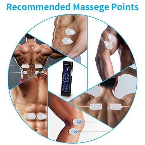 Keenstone TENS gerät, Doppelkanal EMS Reizstromgerät Elektronisches mit 6 Modi, Trainingsgerät mit 20 Ebenen, Professionell Massagegerät mit 10 Pads, zur Muskelentspannung&chmerzlinderung