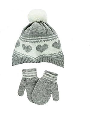Baby Girls Knit Beanie Winter Ski Hat and Stretch Mittens Grey Hearts