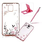 Rubber Case For Galaxy Note 4,For Galaxy Note 4 Clear Case Soft TPU Back Cover With Bling Glitter Design,Herzzer Luxury Rose Gold Electroplate Plating Bumper Frame Pink Flower Pattern Crystal Skin Case