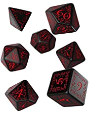 Q WORKSHOP Elvish zwart & rood RPG versierd Dobbelstenen Set 7 Polyhedral Stukken