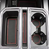 2017 2018 Ford F-150 Custom Fit Cup Holder and Door Liner Accessories F150 28-pc Set (Super Crew) (Red Trim)