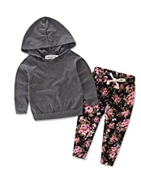 Baby Girls Floral Hoodie+ Floral Pant Set Leggings 2 Piece Outfits For 6M-3Y