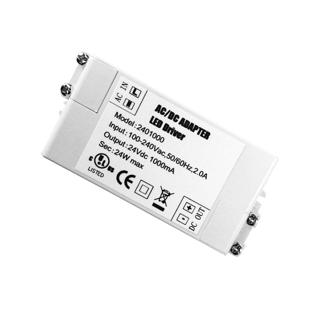 YAYZA! 2-Paquete Transformador de Conductor LED de Bajo Voltaje IP44 24V 1A 24W