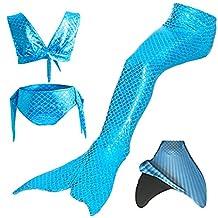 loenzo otiz Girls summer Mermaid swimwear and fins 4PC
