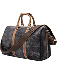 Tmount Unique Vintage Canvas Leather Duffel Bag Travel Tote Bag