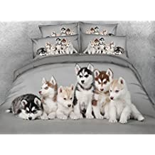 Ammybeddings 5 Piece Grey King Duvet Cover with 2 Pillow Shams and 1 Sheet and 1 White Comforter,Digital Print 3D Adorable Puppies Bedding Sets Twin/Full/Queen,Grey,Luxury Soft Stylish Decor Bedding
