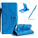 Strap Leather Case for Huawei Honor 10,Blue Wallet Cover for Huawei Honor 10,Herzzer Classic Retro Pretty Mandala Flower Embossed Magnetic Closure Stand Shockproof Flip PU Leather Back Case with Soft Silicone