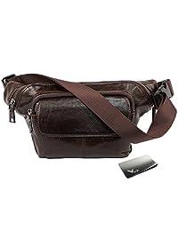 kilofly Leather Adjustable Waist Band Fanny Pack Belt Pouch Bum Bag + Money Clip