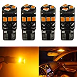 4-Pack T10 194 168 921 Amber / Yellow Extremely Bright Canbus Error Free LED Light 12V ,9-SMD 2835 Chipsets Car Replacement Bulb For W5W 168 2825 Map Dome Courtesy License Plate Side Marker Light