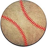 BASEBALL STITCHES - Ball Softball Non-slip Mats Circular Carpet Mats Dining Room Bedroom Carpet Floor Mat 23.6 Inch