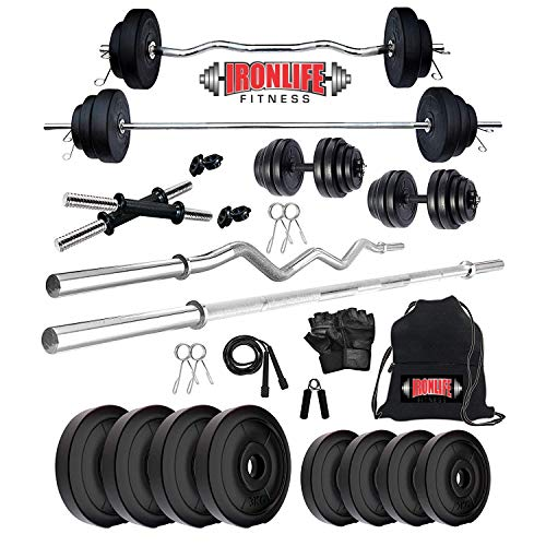 IRONLIFE FITNESS Leather 30 Kg Weight Plates, 4 and 3 ft Rod, 2 D.Rods Home Gym Equipments Dumbbell Set (04)