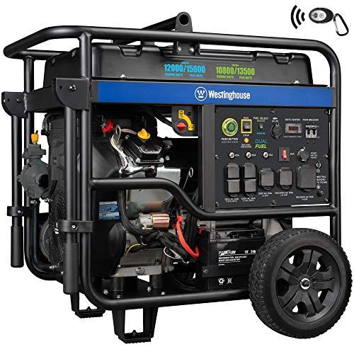 Westinghouse WGen12000DF Ultra Duty Portable Generator - 12000 Rated Watts & 15000 Peak Watts - Dual Fuel - Electric Start - Transfer Switch & RV Ready - CARB Compliant