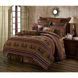 Running Horse Western 5 Piece Super Queen Comforter Bedding Set Includes: (1 Comforter, 2 Pillow Shams, 1 Bedskirt, 1 Neckroll Pillow) - Ranch Equestrian - SAVE BIG ON BUNDLING!